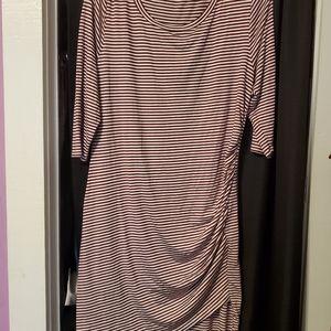 Crimson and White Striped Dress
